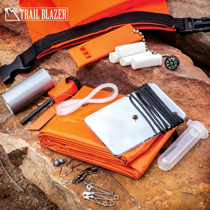 """Trailblazer Drybag Survival Kit - Water-Resistant, Fishing Kit, Emergency Whistle, Signal Mirror, Emergency Blanket, Compass, Fire Building Tools - Dimensions 3 3/4"""" x 6""""x 1"""""""
