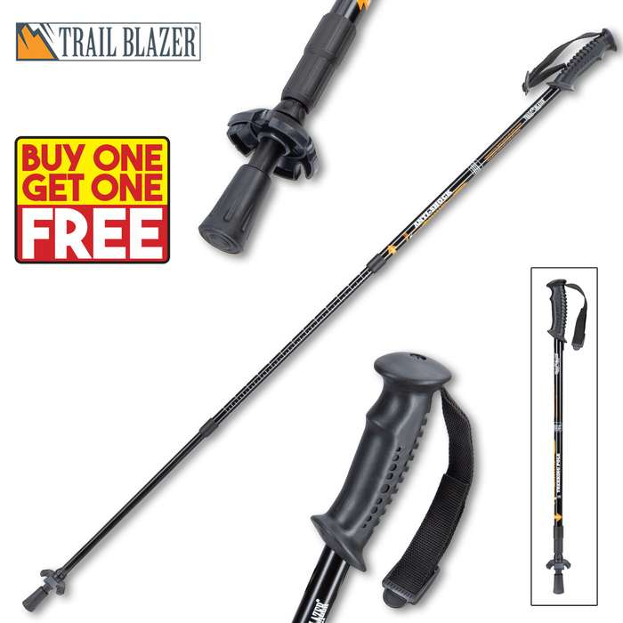 "Trailblazer Adjustable Trekking Pole - Compact, Lightweight, Shock Absorber, Ergonomic Grip, Wrist Lanyard - Length 52"" - BOGO"