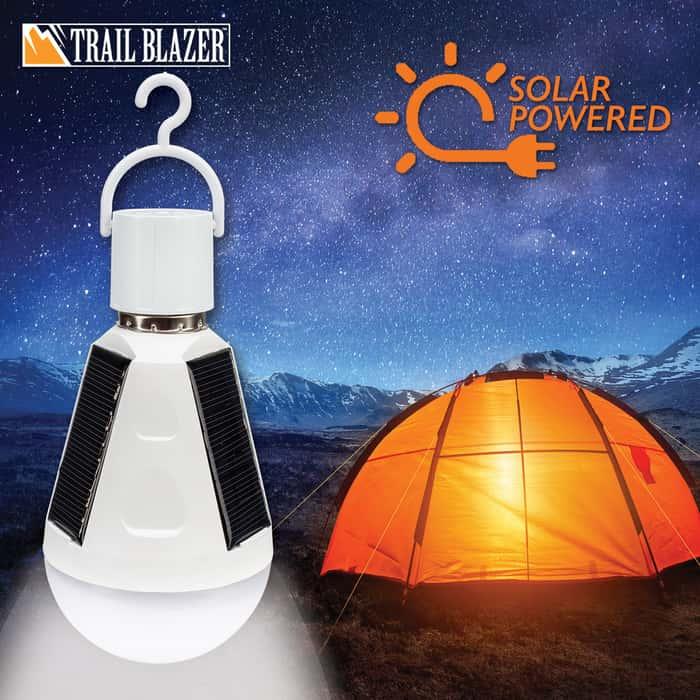 "Trailblazer LED Solar Emergency Hanging Light Bulb - 7 Watts, Energy Efficient, ABS Construction, 500 Lumens - Length 5 4/5"""