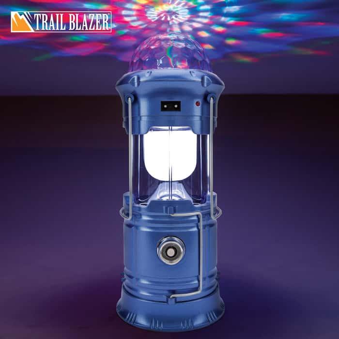 "Trailblazer Magic Camping Lantern - Six LEDs, Three Color LEDs, Aluminum Base, Three Lighting Modes, USB Power Output Port - Dimensions 7 1/2""x 3 1/2"""