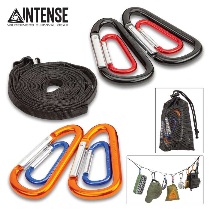 """Trailblazer Camp Gear Suspension Rope With Mesh Bag - Polypropylene Ribbon Rope, Ten Stainless Steel Carabiners - Length 71 7/10"""""""