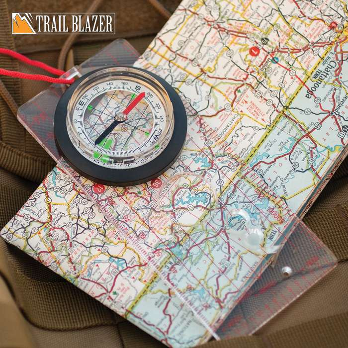 """Trailblazer Map Compass - Lightweight, Compact, Clear Plastic Base, Integrated Magnifier, Neck Lanyard - Dimensions 5 1/2""""x 2 1/2"""""""