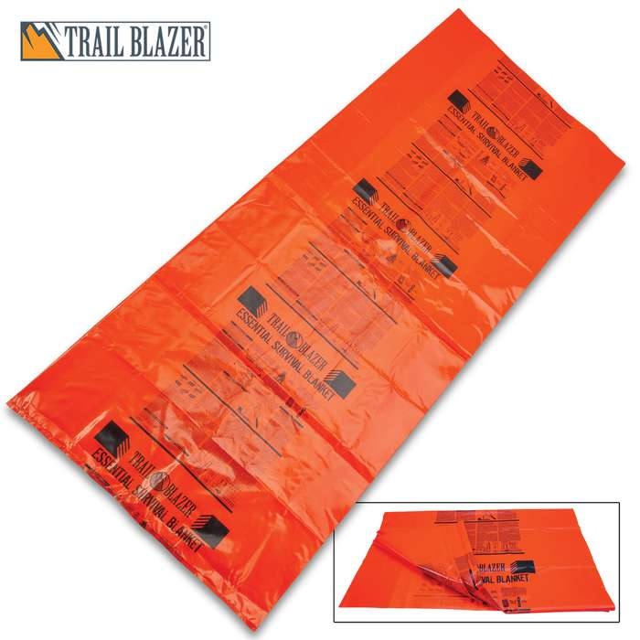 "Trailblazer Survival Sleeping Bag - Heavy-Duty Orange PVC Construction, Printed Emergency Instructions, Weather-Resistant - Dimensions 29 1/2""x 74"""