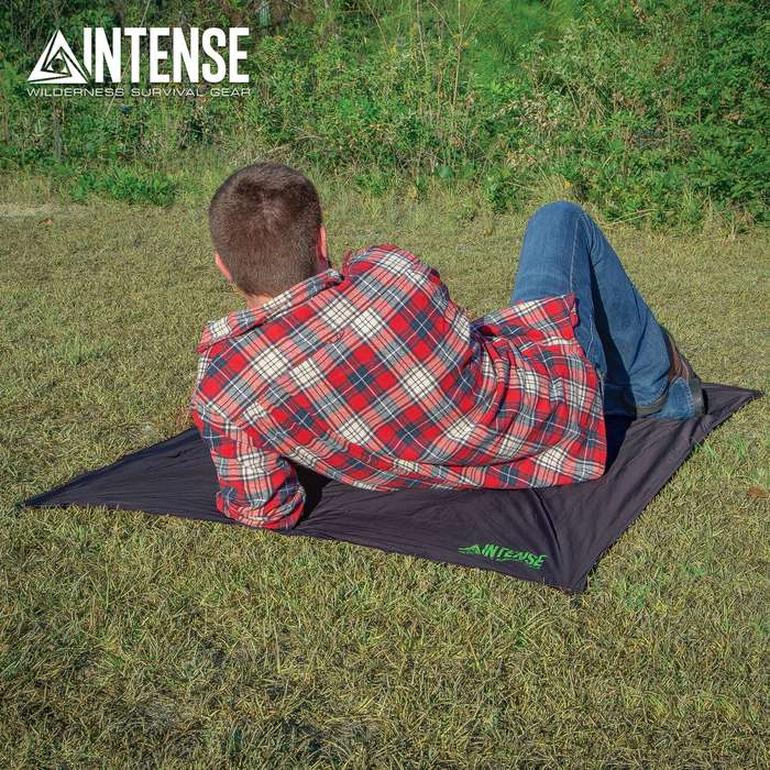 "Intense Pocket Blanket With Built-In Pegs - Water-Resistant, Tear-Resistant, Sand Pockets, Storage Pouch - Dimensions 63""x 43"""