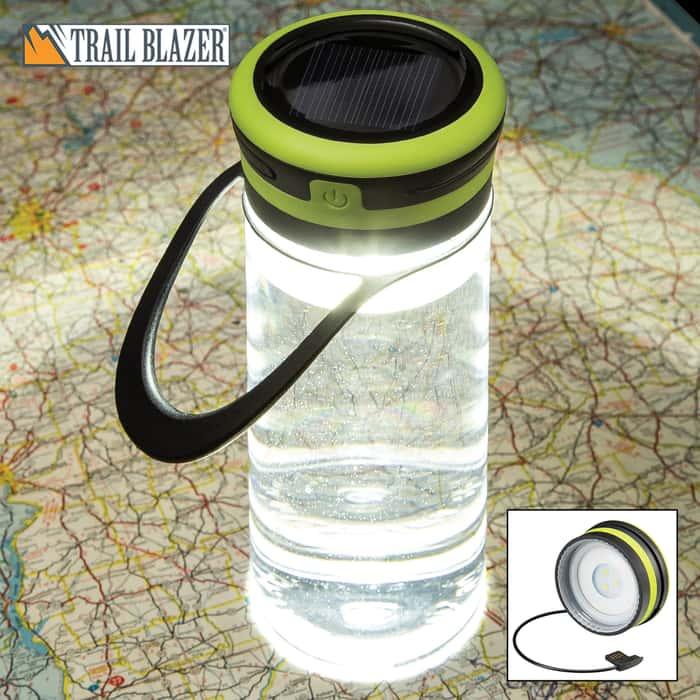 Trailblazer Solar Light Water Bottle - BPA Free, Built-In USB Charging Cable, Three Light Modes, 100 Lumens, Water-Resistant, TPR Hanger