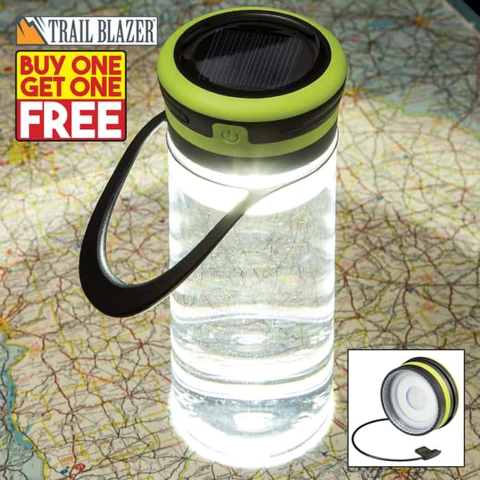 Trailblazer Solar Light Water Bottle - BPA Free, Built-In USB Charging Cable, Three Light Modes, 100 Lumens, Water-Resistant, TPR Hanger - BOGO