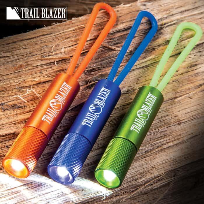 "Trailblazer Rubber Band Flashlights - Three-Pack, Strong Rubber Strap, Aluminum Housing, 5-Lumen LED - Length 2 1/4"""