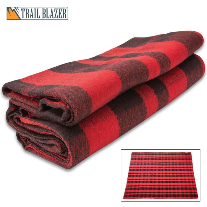 "Trailblazer Buffalo Plaid Wool Blanket - 80% Wool Construction, Stitched Edges, Retains Insulation When Wet, Dimensions 64""x 84"""