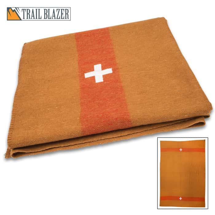 "Trailblazer Swiss Army Wool Blanket - 80% Wool Construction, Stitched Edges, Retains Insulation When Wet, Dimensions 64""x 84"""