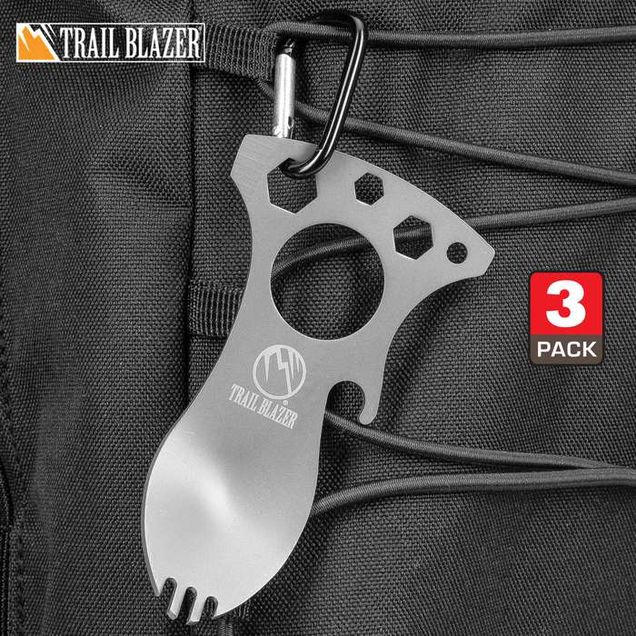 "Trailblazer Spork Multi-Tool And Carabiner - Stainless Steel Construction, Bottle Opener, Screwdriver, Pry Tip, Wrenches - Length 4"" - Three-Pack"