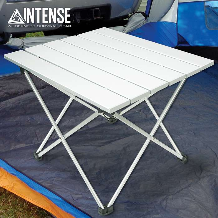 "Intense Ultra-Light Folding Camping Table With Bag - 6061 Aluminum And TPU Construction - Dimensions 15 1/2""x 13 1/4""x 12 1/4"""