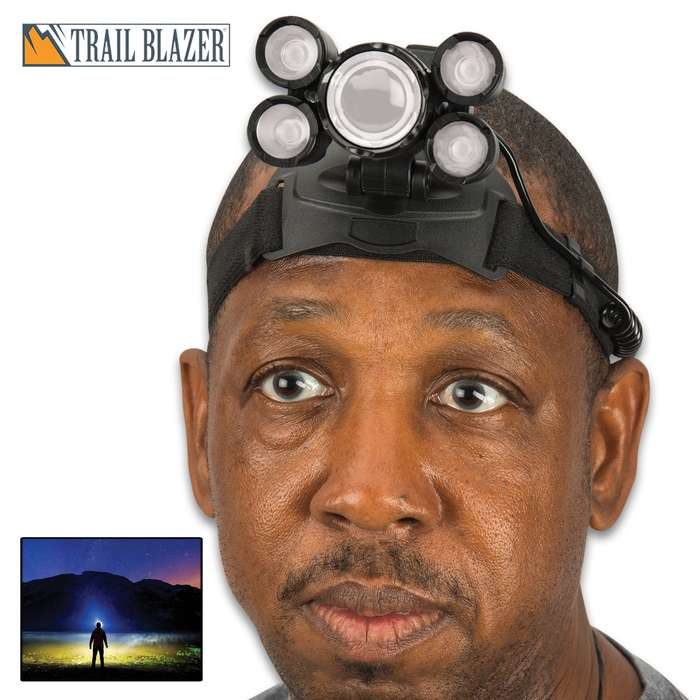 Made of aluminum alloy and rubber, the Trailblazer 12,000 Lumens Four-Mode Headlamp weighs less than 12 ozs, making it much lighter and handier than normal headlamps