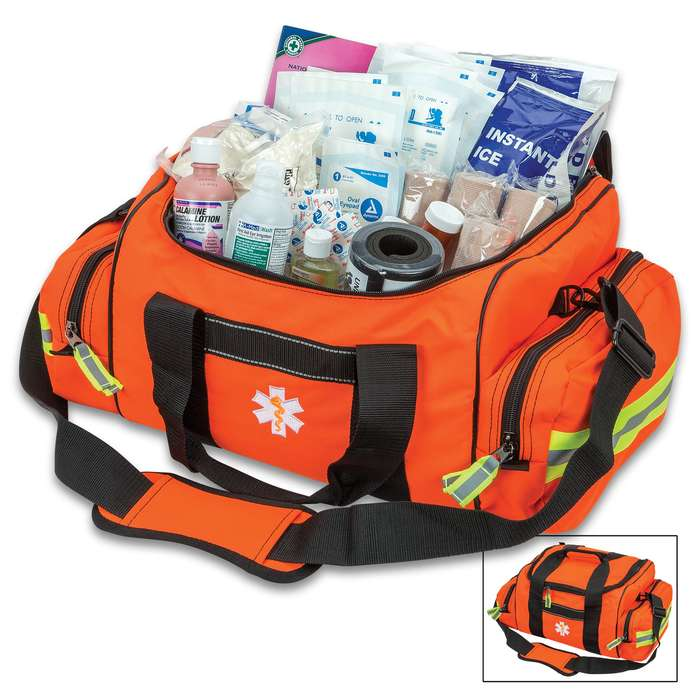 Orange First Responder Bag - Spacious Compartments, Zippered Pockets, Complete Set Of First Aid Equipment, Shoulder Strap