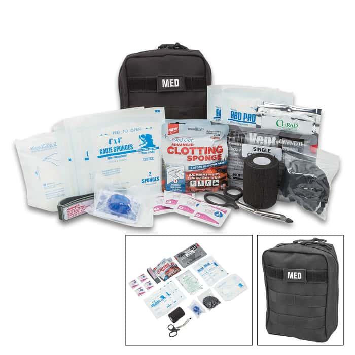 Elite Gunshot Trauma Kit - MOLLE Compatible, Lightweight, First Aid Supplies Specific To Gun Shot Wounds