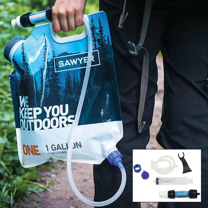 Sawyer One-Gallon Gravity Water Filtration System - Dual-Threaded MINI Filter, Removes 99.99 Percent Bacteria, Up To 100,000 Gallons