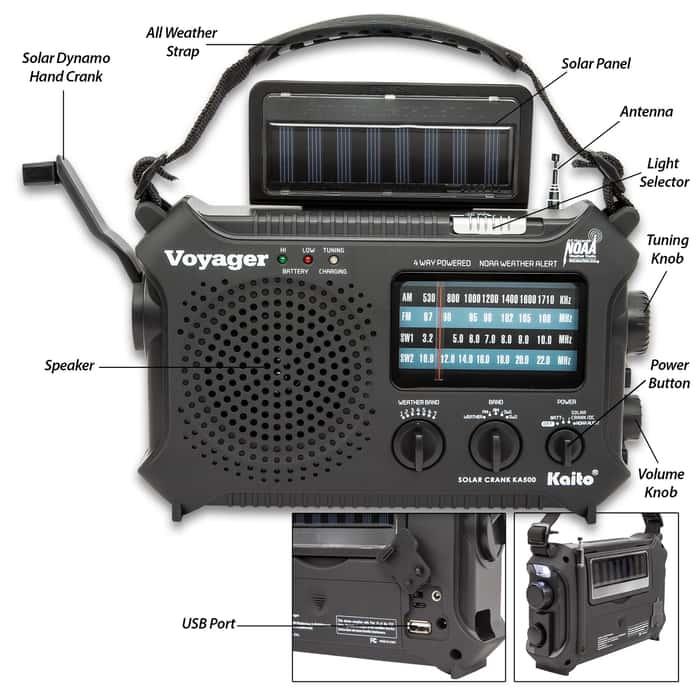 Kaito Voyager Classic Solar Radio - Five-Way Powered Emergency, Weather Alert, Flashlight, Reading Lamp, Dynamo Crank