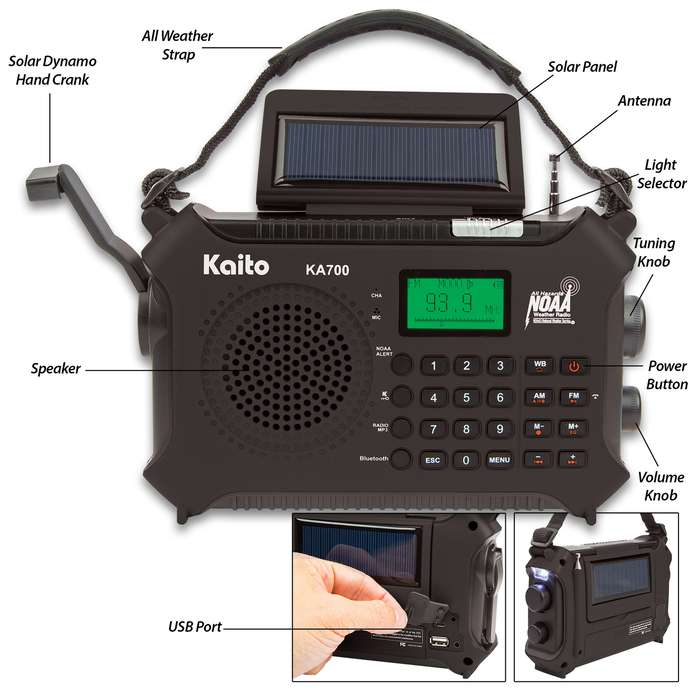 Kaito Emergency Solar Radio And Music Machine - Bluetooth, Weather Band, MP3 Player, Hands-Free Cellphone Speaker, Hand Crank Dynamo