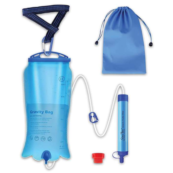 The Membrane Solutions Three-Liter Gravity Water Filter Bag With Straw is easy to use and has a three-stage filtration system