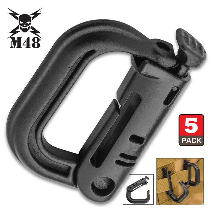 """M48 Backpack Webbing D-Ring Carabiner - Five Pieces, ABS Construction, Grimlock Closure - Dimensions 2 1/5""""x1 2/5"""""""