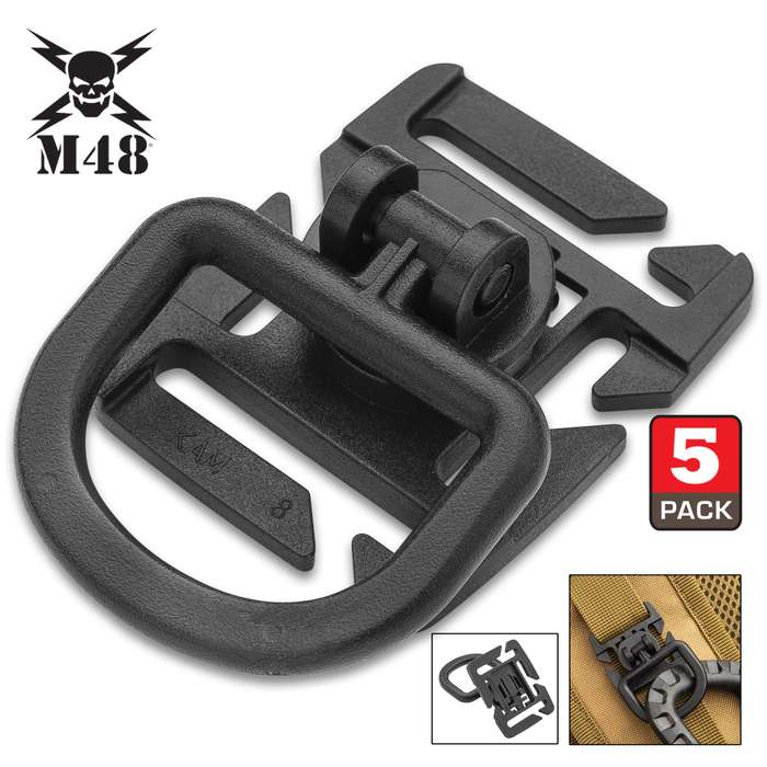"""M48 Webbing Connect Buckle Clip - Five Pieces, ABS Construction, Octagon Mount, 360-Degree Rotation - Dimensions 1 3/5""""x1 3/10"""""""