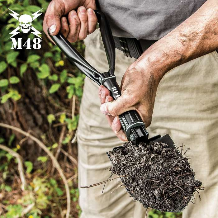 M48 Folding Entrenching Tool With Pouch - 1050 Carbon Steel Construction, Black Heat-Treated Finish - Length 18 1/4""