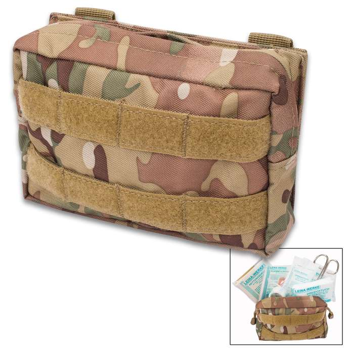 Mil-Tec 25-Piece First Aid Kit in MOLLE Belt Pouch - Camo - Military Grade; Made in Germany; Instructions; New; Sterile; Outdoors, Tactical, Home, Vehicle, Survival, Emergency, Prepper, Bug-Out