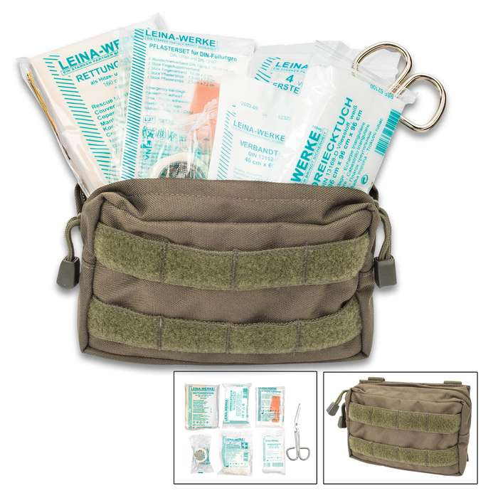 Mil-Tec 25-Piece First Aid Kit in MOLLE Belt Pouch - Olive Drab - Military Grade; Made in Germany; Instructions; New; Sterile; Outdoors, Tactical, Home, Vehicle, Survival, Emergency, Prepper, Bug-Out