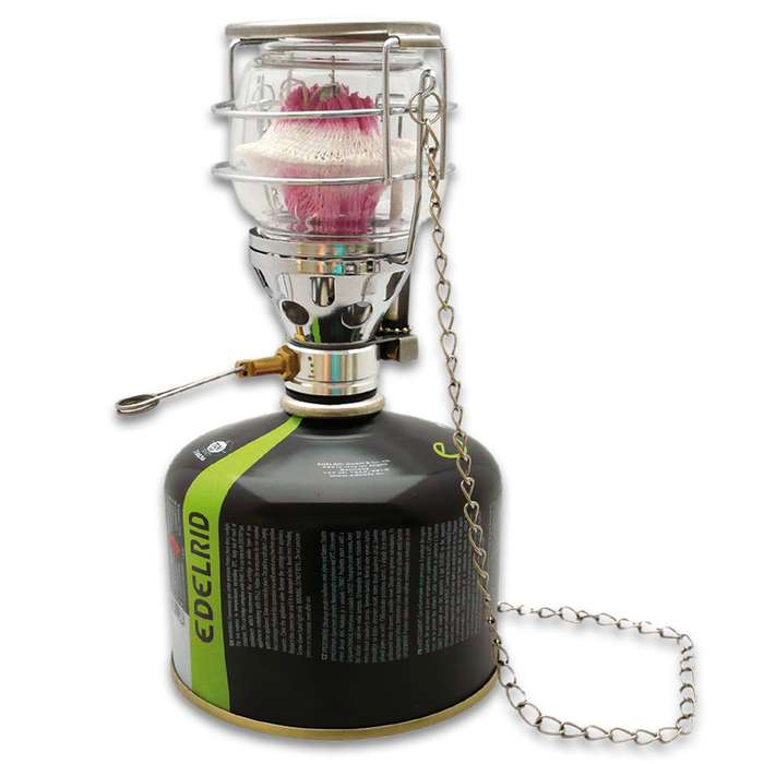 The Mil-Tec Small Butane Cartridge Lantern is compact enough to not take up much room in your camping or survival gear