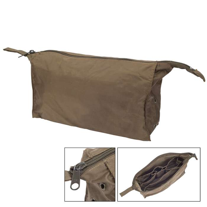 German Military Issue Toiletries Bag - Used - Nylon Exterior, Rubberized Interior, Internal Dividers, Pockets, Zipper Top