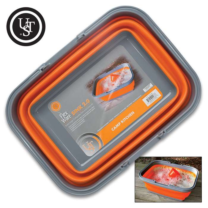 UST Flexware Sink 2.0 - TPR Construction, BPA-Free, Collapsible, Lightweight, Dishwasher Safe, Dual Handles - Capacity 16L