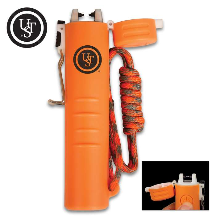 The lightweight and compact TekFire Orange Charge Fuel-Free Lighter allows for quick and easy fire starting and features an emergency power bank to charge your phone and other mobile devices on the go