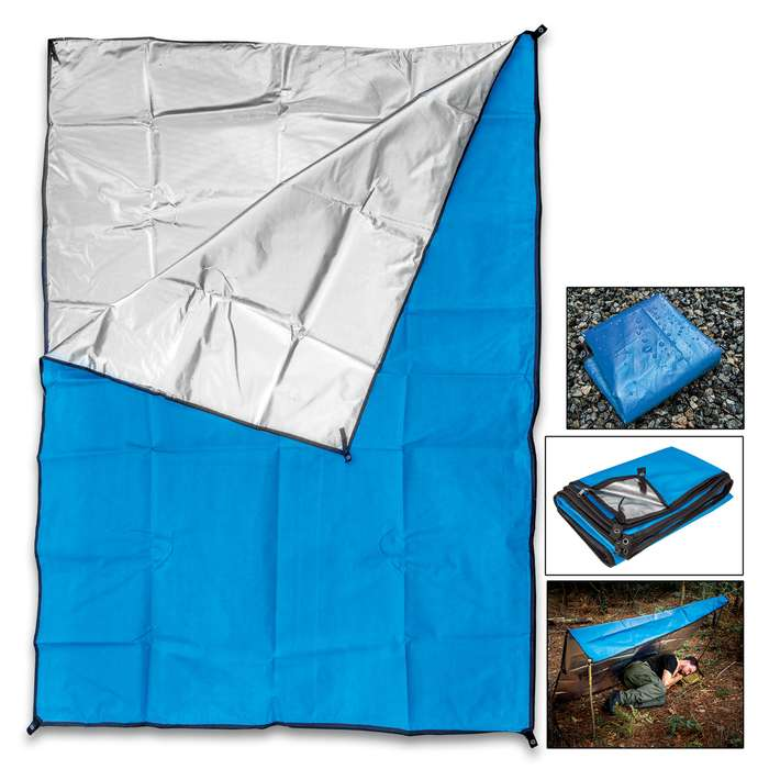ShelterMe Emergency Sleeping Bag - Aluminized And Laminate Fiber Scrim, Two-Sided Zipper, Thermal Reflective, Waterproof