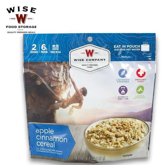 Wise Company Apple Cinnamon Cereal - Case of 6 Two-Serving Pouches
