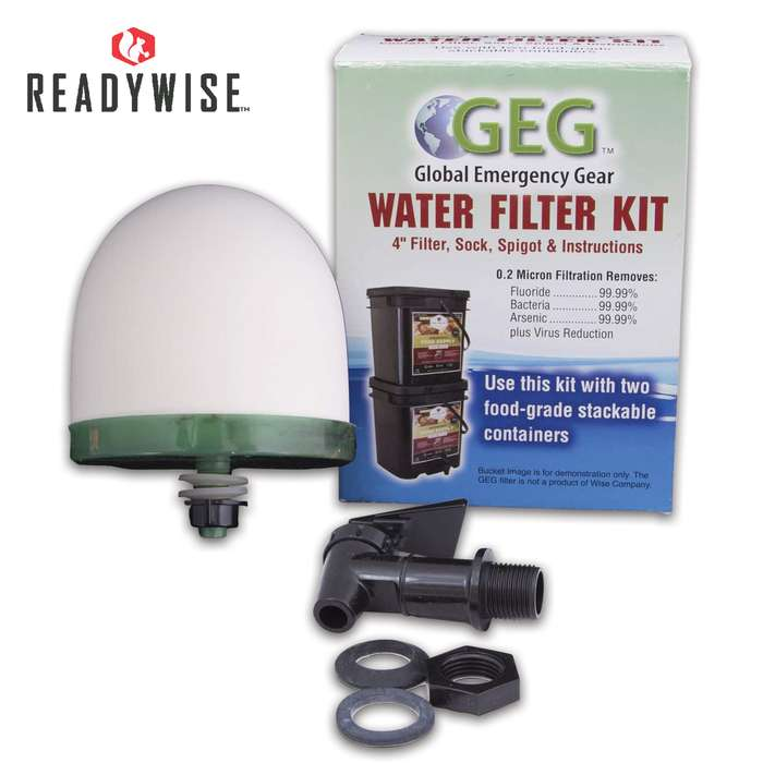 Repurpose two of your food buckets into a water filter that will filter approximately 30 to 35 gallons of water per day