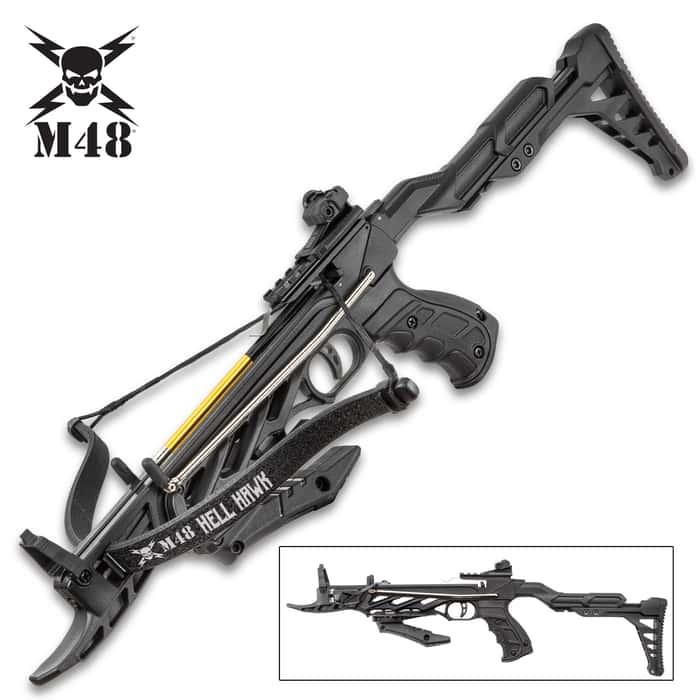 """M48 Hell Hawk Self-Cocking Assault Crossbow Pistol - Lightweight Fiberglass Construction, 185 FPS, Bolts Included - Length 24 2/5"""""""