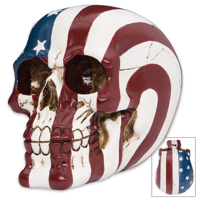 Ol' Glory Bones American Flag Resin Skull