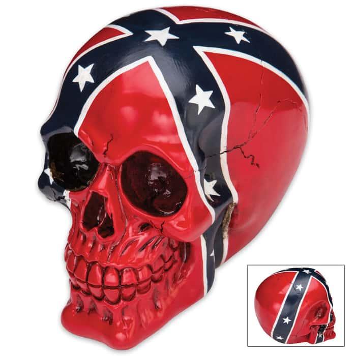 Dead Johnny Reb Confederate Flag Resin Skull