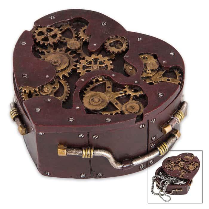 Heart-Shaped Steampunk Trinket Box
