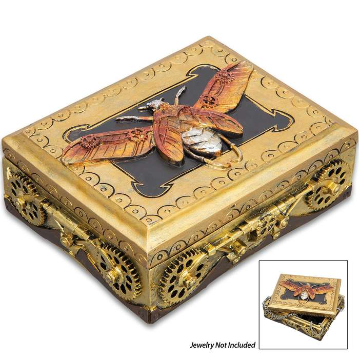 """Golden Moth Steampunk Box - Crafted Of Polyresin And Wood, Intricately Detailed, Hand-Painted, Removable Lid - Dimensions 5 3/4""""x 4 1/4""""x 2 1/4"""""""