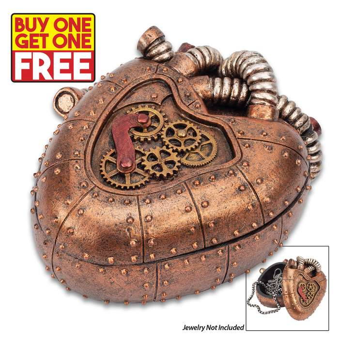 """Copper Mechanical Heart Steampunk Trinket Box - Crafted Of Polyresin, Hand-Painted, Removable Lid - Dimensions 4 1/4""""x 3 1/2""""x 2"""" - BOGO"""