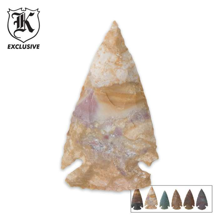 "Handcrafted Contemporary 2"" Agate / Jasper Stone Arrowheads - 6-pack"