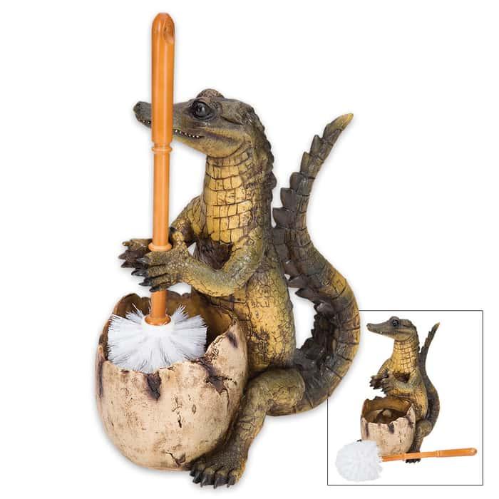 The Toilegator - Crocodile Toilet Brush Holder / Resin Sculpture