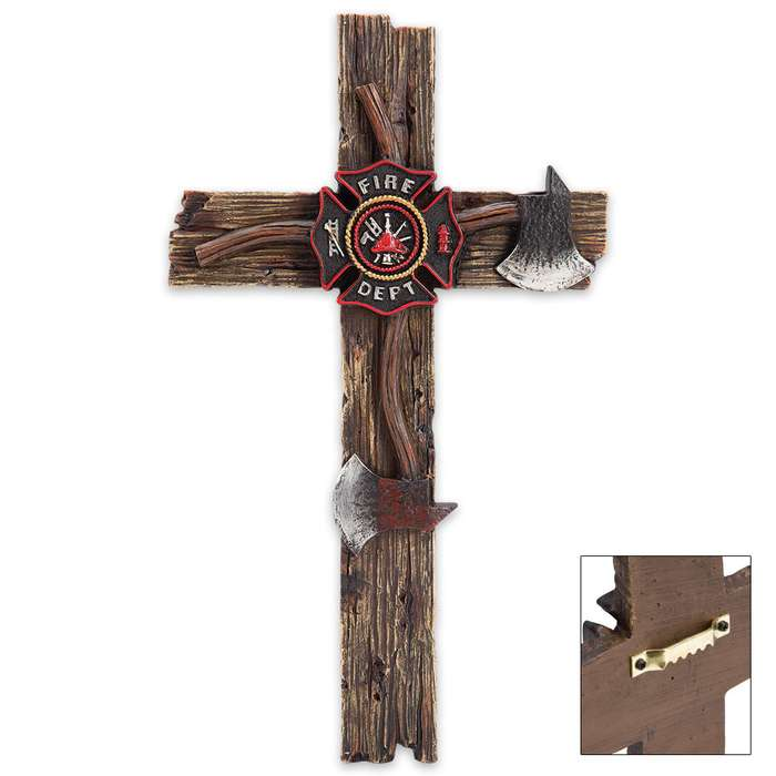 Firefighter Tribute Cross with Axes, Fire Department Seal Accents - Resin Sculpture