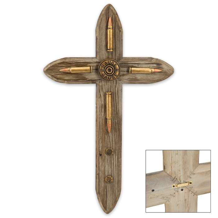 Faux Wood Cross Plaque with Bullet Accents