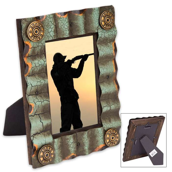 """Rustic Corrugated Picture Frame with Bullet Accents - Fits Standard 4"""" x 6"""" Photos"""