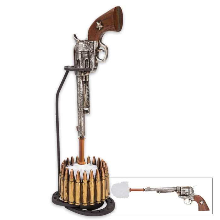 Wild West Revolver and Bullets Toilet Brush Holder / Resin Sculpture