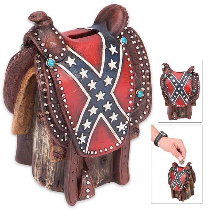Confederate Flag Saddle Bank - Saddle-Shaped Change Holder - Stars and Bars Motif