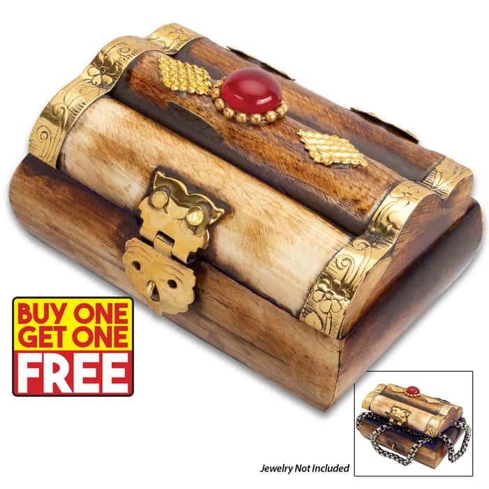 "Antique Treasure Chest Bone Box - Genuine Bone, Brass Hinged Lid, Brass Accents, Faux Jewel, Felt Lined Interior - Dimensions 3"" x 1 3/4"" x 1 1/4"" - BOGO"