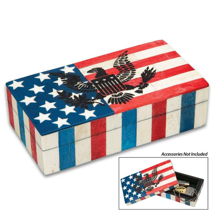 "American Flag And Eagle Bone Box - Genuine Bone, Removable Lid, Etched Design, Felt Lined Interior And Bottom - Dimensions 6 1/4"" x 3 1/4"" x 1 3/4"""