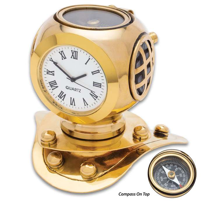 """Diving Helmet Clock With Compass - High-Quality Brass Construction, Roman Numerals - Overall Dimensions 3 1/2""""x 3 1/2"""""""